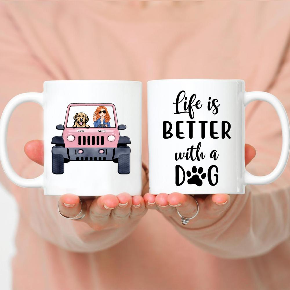 Dog Lady & Her Jeep - Life Is Better With A Dog - Up to 5 Dogs