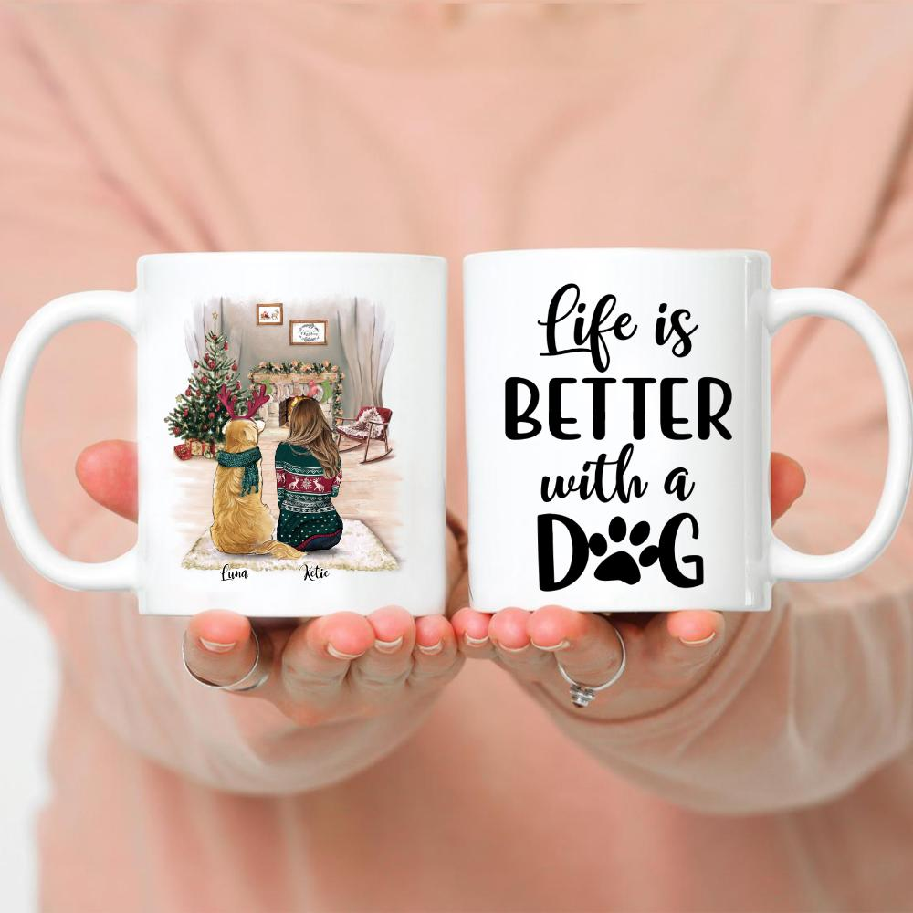 Girl and Dogs Christmas - Life is better with dogs